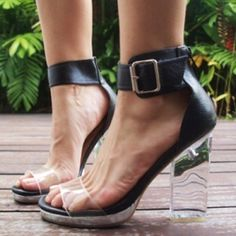 Jeffrey Campbell black and lucite sandal heels. It's of utmost importance that these be on my feet.