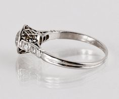 Antique 1920s Platinum Diamond Engagement Ring by TheCopperCanary