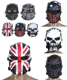 [Visit to Buy] Airsoft Paintball Full Face Protection Skull Mask Army Games Outdoor Metal Mesh Eye Shield Costume for CS Cosplay Party  #Advertisement