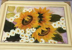 Girassóis Frame, Painting, Home Decor, Art, Oil On Canvas, Fabrics, Flowers, Picture Frame, Art Background