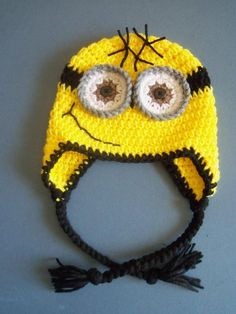 Crochet Minion Hat, Crochet Despicable Me Hat, Toddler, Baby Boy - Made To Order Minion Crochet Patterns, Crochet Minions, Crochet Ideas, Minion Hats, Minions Minions, Knit Crochet, Crochet Hats, Despicable Me, Headbands