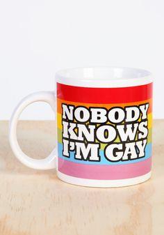 Nobody Knows I'm Gay Rainbow Coffee Mug