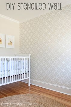 The colours in the room are Old Prairie by Benjamin Moore and Simply White by Benjamin Moore with Endless Circles Lattice Moroccan Stencil.