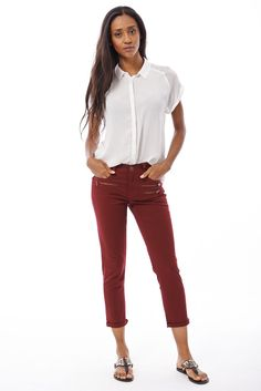 New Womens Ladies Cropped Jeans With Zip Detail Sizes 4 -16