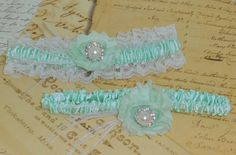 Bridal Garter Set Mint Green and White Lace by DESIGNERSHINDIGS, $18.00