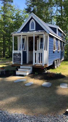 Tiny House Village, Tiny House Loft, Best Tiny House, Building A Tiny House, Tiny House Living, Tiny House On Wheels, Small House Plans, Living Room, Tiny House Exterior Wheels