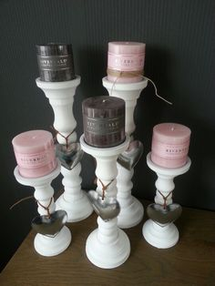 Pink and Grey Candle Light. With metal hearts. Candle Lanterns, Pillar Candles, Chandeliers, Farm House Colors, Diy Candle Holders, Light Decorations, Home Accents, Candlesticks, Sweet Home
