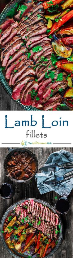 Lamb loin fillets and roasted root vegetables. Easy Mediterranean recipe for grilled lamb loin with a special wine-brandy sauce & roasted root vegetables! Lamb Chop Recipes, Meat Recipes, Cooking Recipes, Healthy Recipes, Lamb Dishes, Food Dishes, Harissa, Roasted Root Vegetables, Grilled Lamb