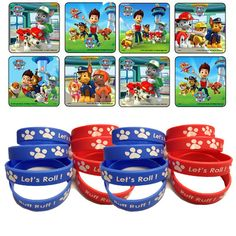 "Add these fun favors to your Paw Patrol goodie bags. 24 colorful assorted stickers.  Stickers measures 2.5"". 12 youth size wristbands in Red and Blue White Paw"