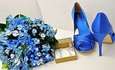 sapato azul chique para noiva