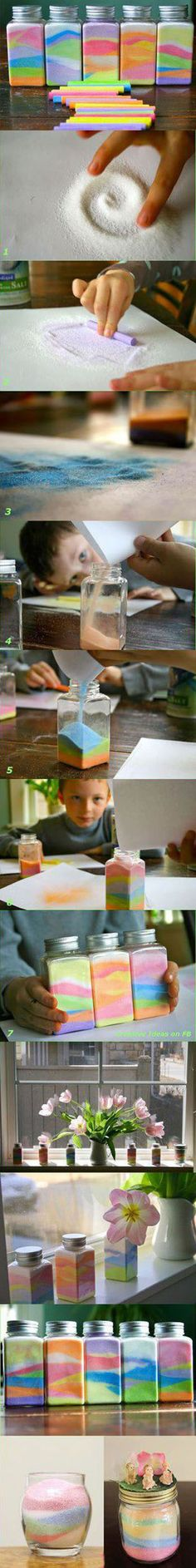 Diy Beautiful Jar Crafts *edit* verry easy to do. I used a small bottle to make a rainbow of coloured sand. Only took me 10 minutes and some salt and chalk