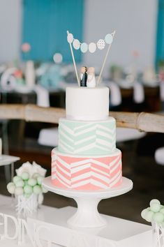 coral and mint wedding cake, photo by Nadia Meli http://ruffledblog.com/western-cape-beach-wedding #weddingcake #cakes