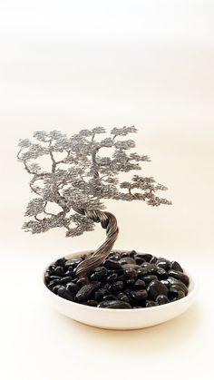 Wind swept bonsai wire tree sculpture docorated by BonsaiWireTree