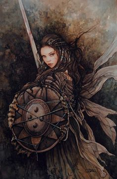 dtk-womenwarriors:  ART BY ARANTZA SESTAYO   Check out this beautiful woman warrior by Spanish artist Arantza Sestayo- I love the soft-yet-deadly energy in the watercolour illustration. She might not be a seasoned warrior, but she clearly has bite- and practical gear! We don't have to see cleavage and a midriff to know she's female. :)