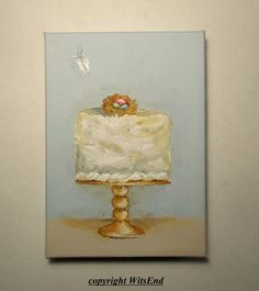 Coconut Bird Nest Cake painting original ooak art Dainty Cakes series by 4WitsEnd, via Etsy
