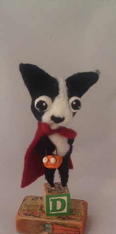 Super DOG ooak needle felted art dolll  by papermoongallery, $69.00