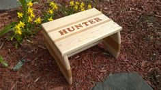 Personalized Hand-inlaid Wooden Step Stool Or Footstool For Children
