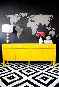 diy map mural wall upgraded ikea sideboard, painted furniture, painting, wall decor