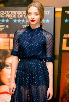 Lovelace star Amanda Seyfried stunned in a sheer blue dress at a special screening of her new film at the Mayfair Hotel on Aug. 12 in London.