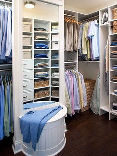 Hardwood floor in closet, definitely. Shelving looks like a great size. Not too big so folded stuff falls over or gets stacked too high. Like how they used the corner space too.