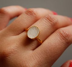 White Druzy Ring  Oval Shaped Ring  Natural Geode Ring by OhKuol, $65.00
