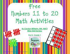 free numbers 11-20 printable, free number activities 1-10, two free printables, activity based no worksheets Numbers Kindergarten, Math Numbers, Preschool Math, Math Classroom, Teaching Math, Math Activities, Teen Numbers, Montessori Math, Math Games