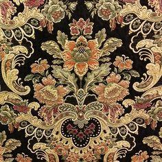 Uffizi Palace Jet Black Tapestry Upholstery Fabric by Swavelle Mill Creek Fabrics - 57312 | BuyFabrics.com