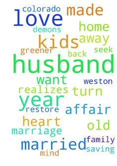 I have been married for 22 1/2 years to my husband - I have been married for 22 1/2 years to my husband Weston. We have 3 kids ranging from 9 years old to 24 years old. He has been having an affair for 1 year. The women he has been having an affair with knows he is married and has kids. I love my husband and have been fighting to saving my marriage since March of 2015. He has turn away from me, our kids and God. Please pray God with convict his heart and show him the grass is not greener on…