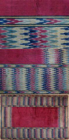 Antique Persian  Textile. Silk Velvet Ikat design Table Cover or Rug Safavi Dynasty  1501 -1722 A.D Circa 1700