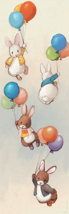 Flying Bunnies Art Print