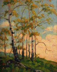 """Daily Paintworks - """"Cool White Aspen"""" by Michael Orwick http://www.dailypaintworks.com/artists/michael-orwick-3592/artwork  $50 www.michaelorwick.com"""