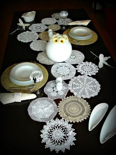 Items similar to Eco Wedding Table Settings MADE to ORDER Doily Runner Wedding Table Decoration With Handcrocheted Vintage Doilies on Etsy Wedding Table Settings, Wedding Reception Decorations, Deco Table, A Table, Vintage Table Decorations, Rustic Wedding, Our Wedding, Creative Decor, Table Runners