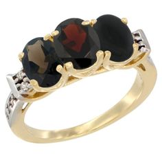 10K Yellow Gold Natural Smoky Topaz, Garnet and Black Onyx Ring 3-Stone Oval 7x5 mm Diamond Accent, sizes 5 - 10 *** Wow! I love this. Check it out now! : Ring Bands
