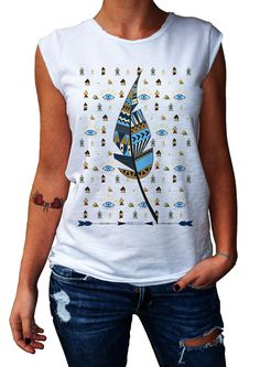 Women's T-Shirt THE LEAF - 100% Made in Italy - 100% Cotton - BOHO COLLECTION http://www.doubleexcess.com/