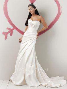 funky rose satin strapless sweetheart neck a-line summer wedding dress