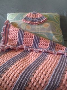 Bobble and Chain Baby Blanket  (with matching hat)   This blanket is sure to become a family heirloom. With bumps, holes, ridges and an o...