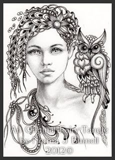 Fairy Tangles Zentangle doodles coloring adult coloring pages pattern Zentangle - Doodles (By Norma Burnell