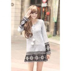 $7.78 Sweet Scoop Neck Snowflakes Print Sweater Dresses With Balls For Women