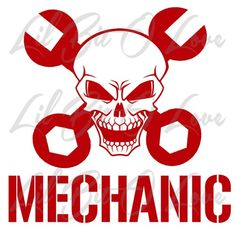 Skull and Cross Wrenches Mechanic Vinyl Car Auto Grease Monkey Sticker | LilBitOLove - Housewares on ArtFire - AVAILABLE IN 24 COLORS