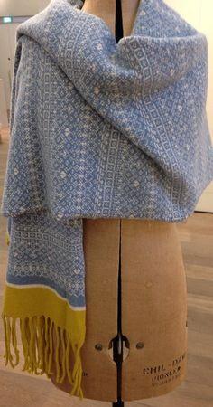 Knit Scarf Fair Isle Stripe Wrap Soft 100% by SuzieLeeKnitwear