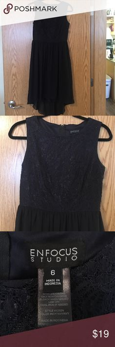 Beautiful high-low navy dress Sleeveless, lace detailed top, high-low chiffon bottom Dresses High Low
