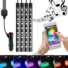 Car Interior Lighting, InTeching 4x Car LED RGB Music Atmosphere Floor Underdash Light, APP Bluetooth Controller Strip Lights Kit. For product info go to:  https://www.caraccessoriesonlinemarket.com/car-interior-lighting-inteching-4x-car-led-rgb-music-atmosphere-floor-underdash-light-app-bluetooth-controller-strip-lights-kit/