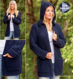Crochet Hooded Cardigan Pattern