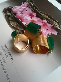 S/ SUMMER COLLECTION 2014 - Green Onix Rings - gold plated
