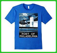 Mens Vintage poster - Port of Philadelphia Retro T-Shirt 3XL Royal Blue - Retro shirts (*Amazon Partner-Link)