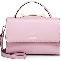 Pink Fold-over Flat Top Cowhide Leather Satchel