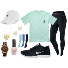 Nike Pro leggings + Nikes + preppy tshirt + Polo hat + monogram necklace
