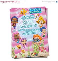 50% off sale Bubble Guppies  Invitation 2. $4.00, via Etsy.
