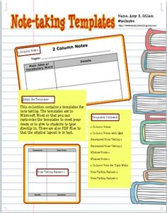 Note Taking Template Middle & HighSchool by TutorTimeWesPines ...