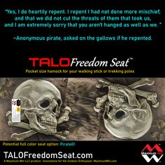"""It was suggested to add Pirate themed selections to the print variations of the TALO Freedom Seat. Need a commitment of 24 to make this option a reality """"Pirate 01"""" Other seats available now, great holiday gifts. Made in the U.S.A. #pirates #piratelife #hiking #walking #physicaltherapy"""